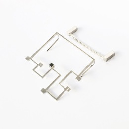 Simple Sample_Brooch 40x40x4mm_925 silver, fine silver plated
