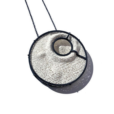 Back to the Moon_Necklace_6.5cm x 6.5cm x 1.8cm Crater NEI.01_Oxidized 925 Silver and plaster